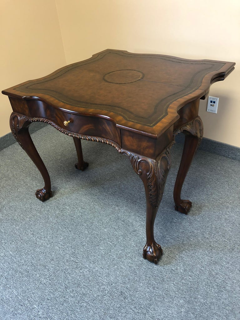Rich Flame Mahogany and Leather Maitland-Smith Amazingly Versatile Game Table For Sale 11