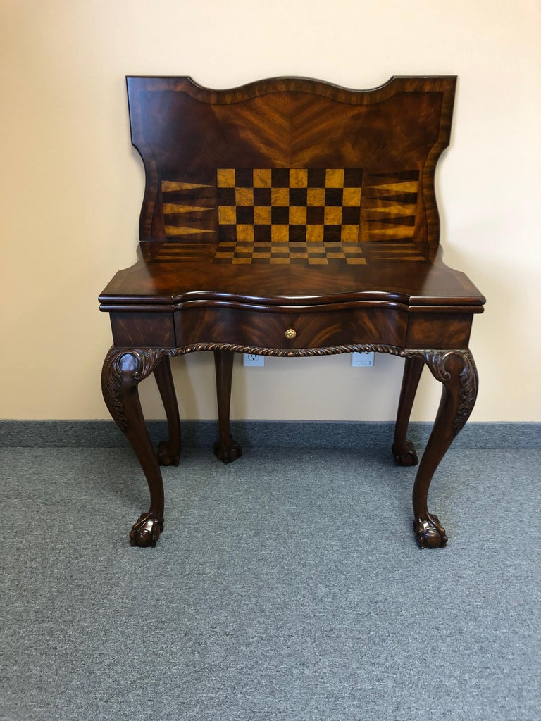 Rich Flame Mahogany and Leather Maitland-Smith Amazingly Versatile Game Table For Sale 12