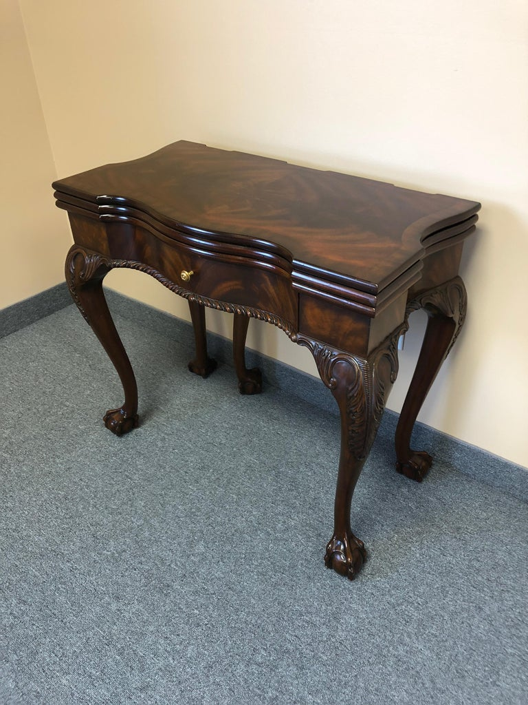 Rich Flame Mahogany and Leather Maitland-Smith Amazingly Versatile Game Table For Sale 13