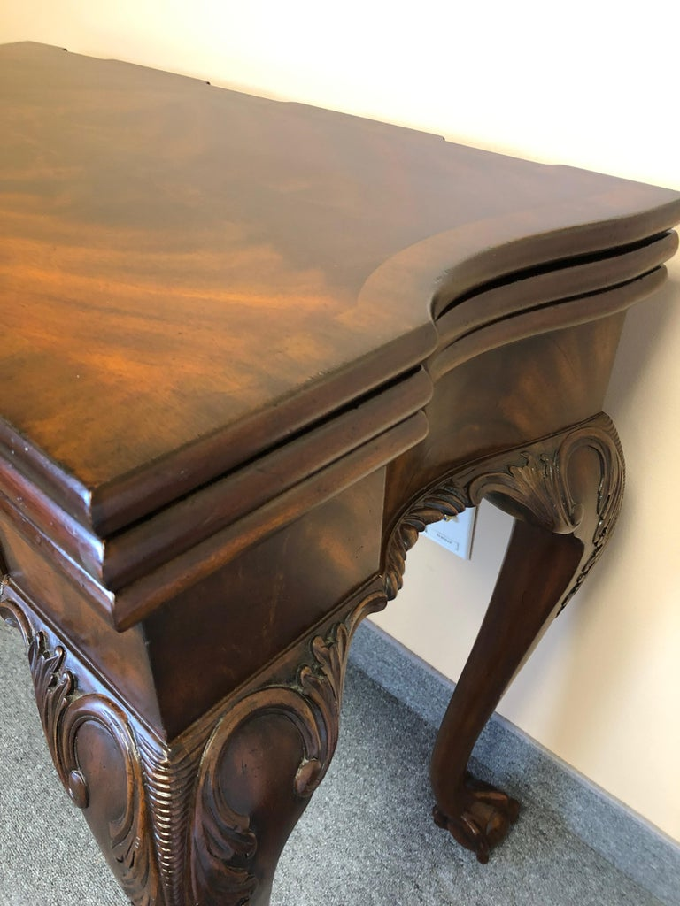 Rich Flame Mahogany and Leather Maitland-Smith Amazingly Versatile Game Table For Sale 14