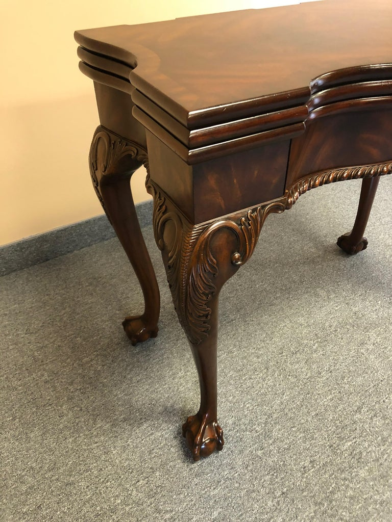 American Rich Flame Mahogany and Leather Maitland-Smith Amazingly Versatile Game Table For Sale