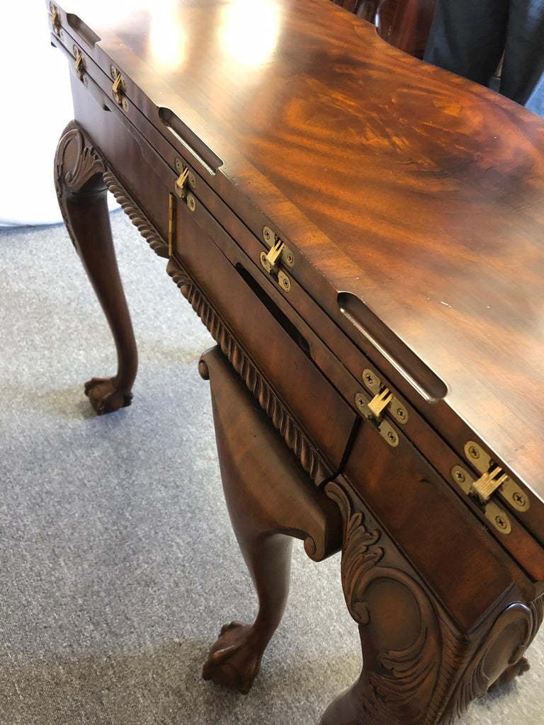 Rich Flame Mahogany and Leather Maitland-Smith Amazingly Versatile Game Table In Excellent Condition For Sale In Hopewell, NJ