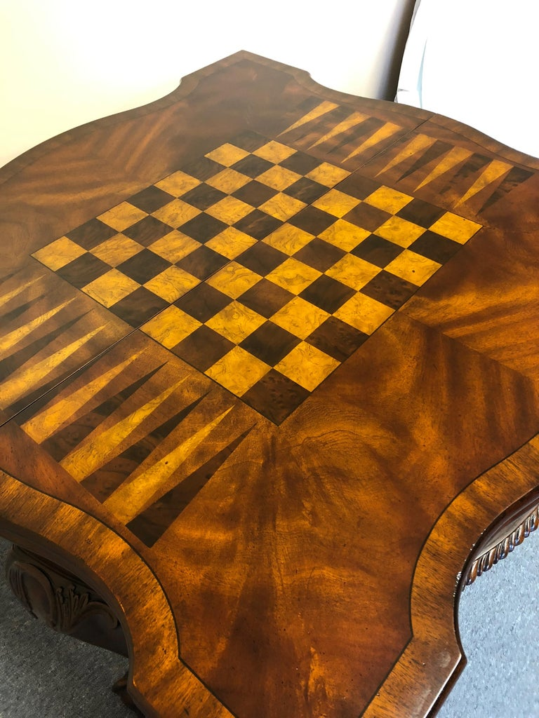 Late 20th Century Rich Flame Mahogany and Leather Maitland-Smith Amazingly Versatile Game Table For Sale