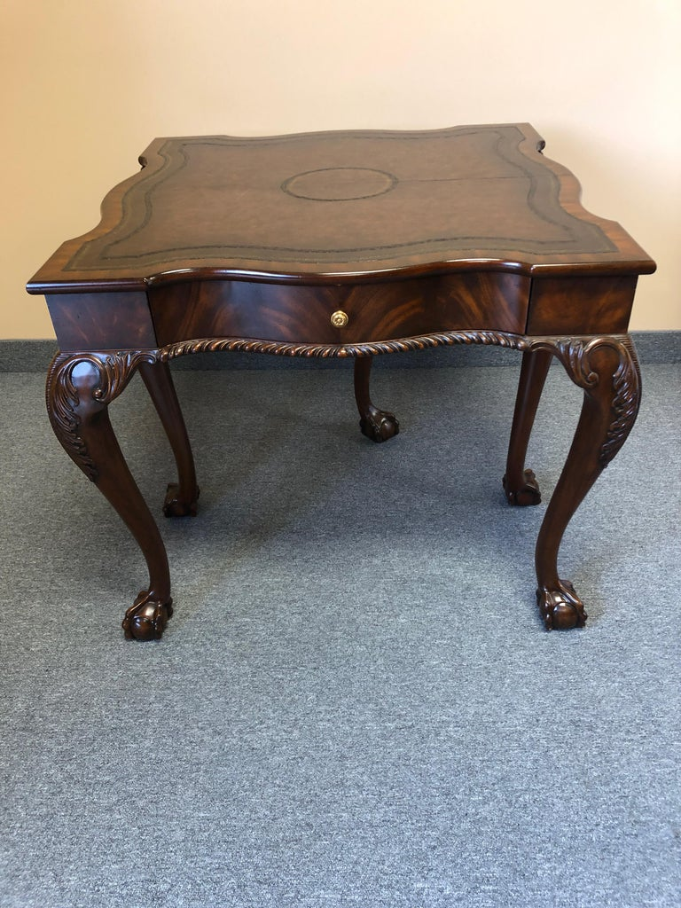 Rich Flame Mahogany and Leather Maitland-Smith Amazingly Versatile Game Table For Sale 2
