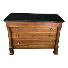 Rich French Mahogany Empire Commode with Black Marble Top