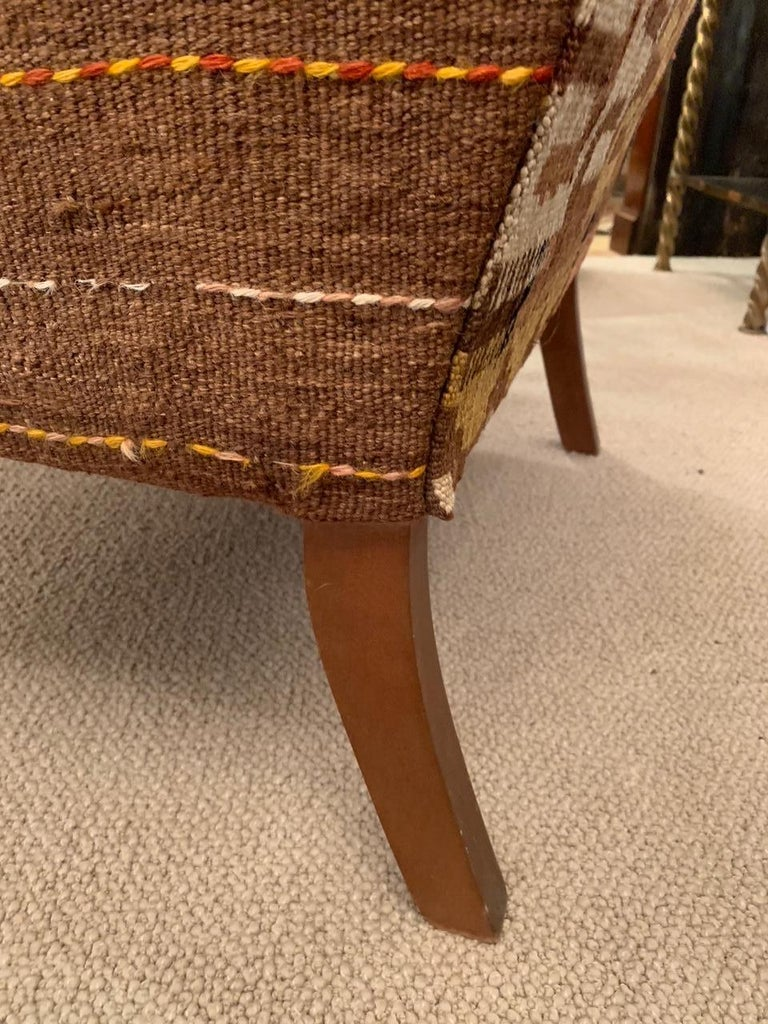 Rich Kilim and Soft Tan Leather Wingback Chair For Sale 4