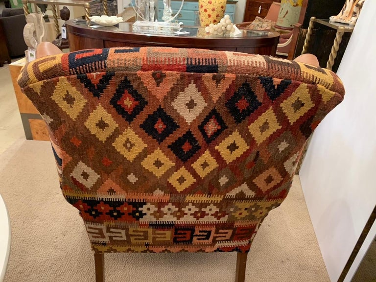 Rich Kilim and Soft Tan Leather Wingback Chair For Sale 5