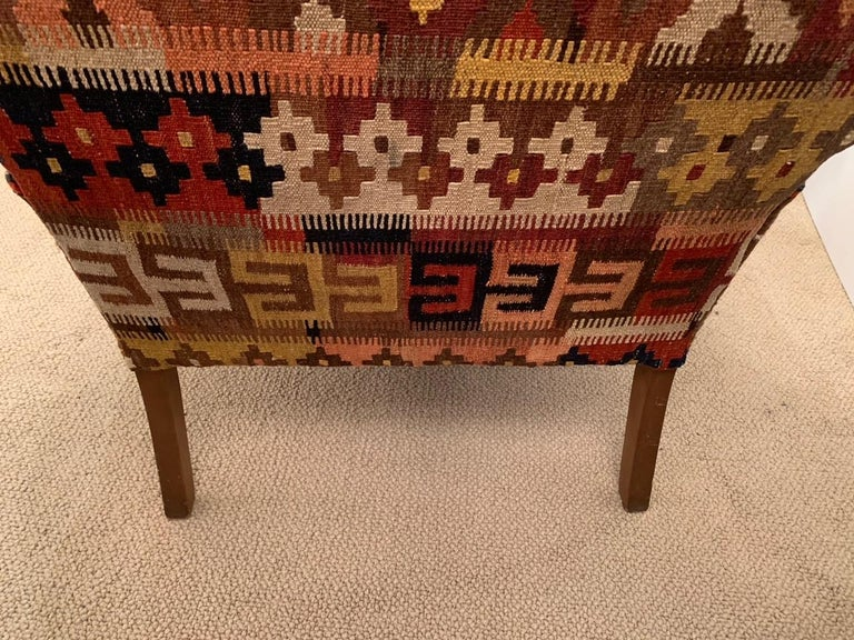 Rich Kilim and Soft Tan Leather Wingback Chair For Sale 6