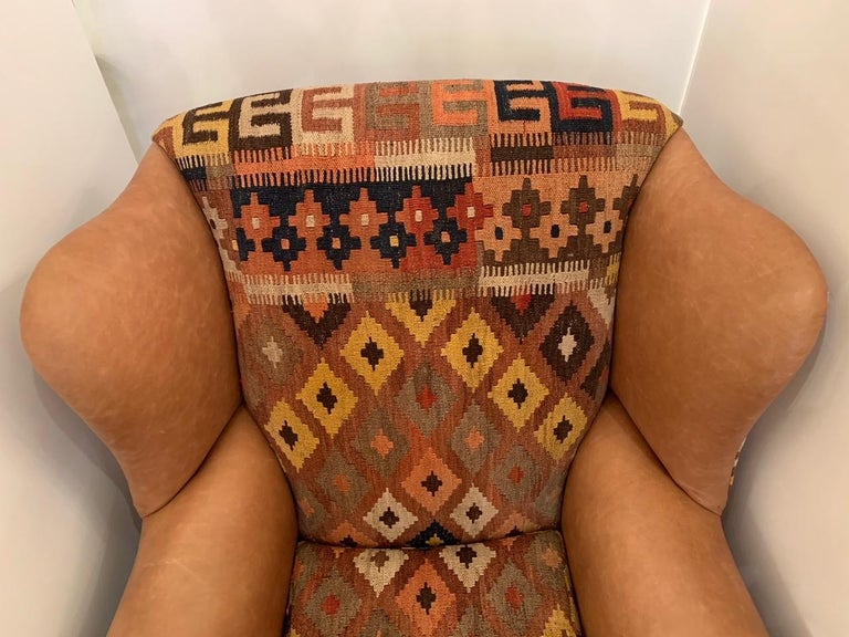 American Rich Kilim and Soft Tan Leather Wingback Chair For Sale
