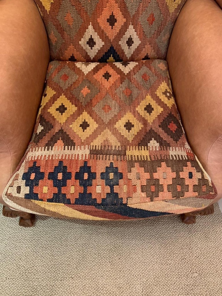 Rich Kilim and Soft Tan Leather Wingback Chair In Good Condition For Sale In Hopewell, NJ
