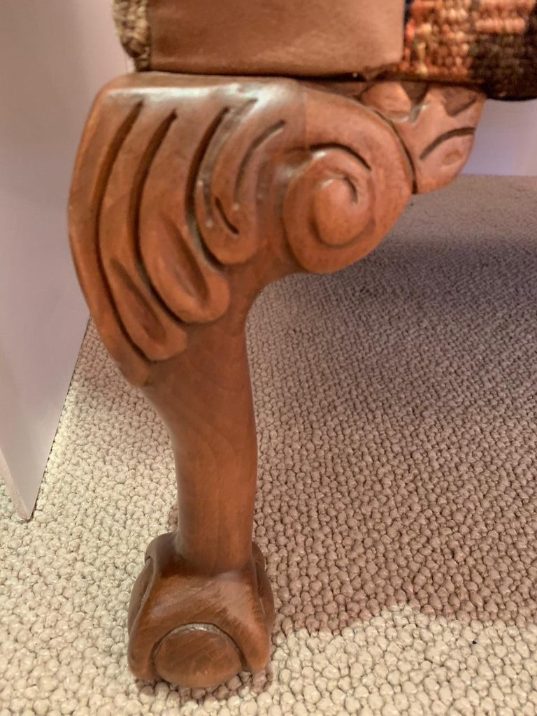 Tapestry Rich Kilim and Soft Tan Leather Wingback Chair For Sale