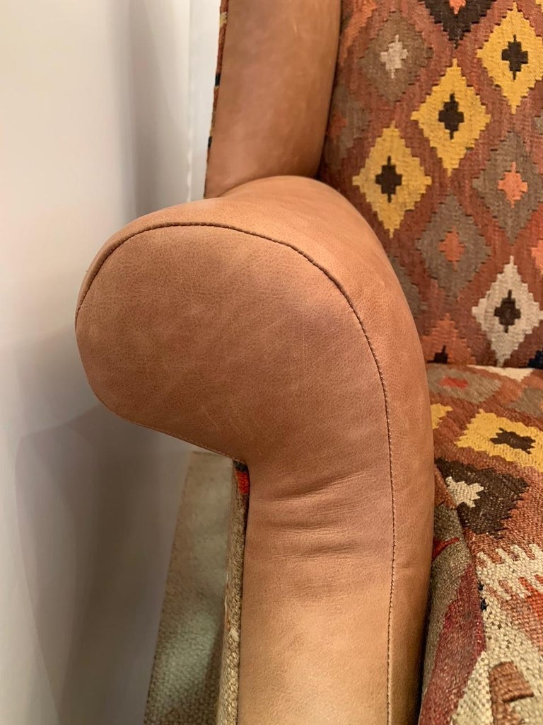 Rich Kilim and Soft Tan Leather Wingback Chair For Sale 1