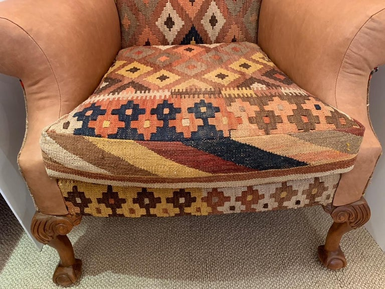 Rich Kilim and Soft Tan Leather Wingback Chair For Sale 2