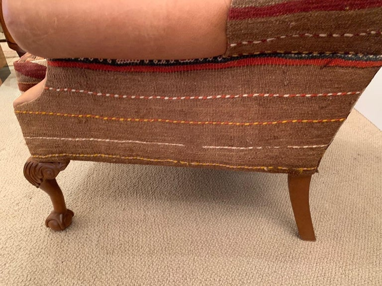 Rich Kilim and Soft Tan Leather Wingback Chair For Sale 3