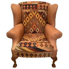 Rich Kilim and Soft Tan Leather Wingback Chair
