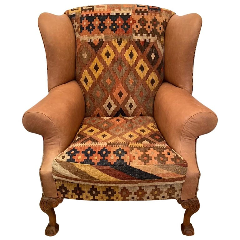 Rich Kilim and Soft Tan Leather Wingback Chair For Sale