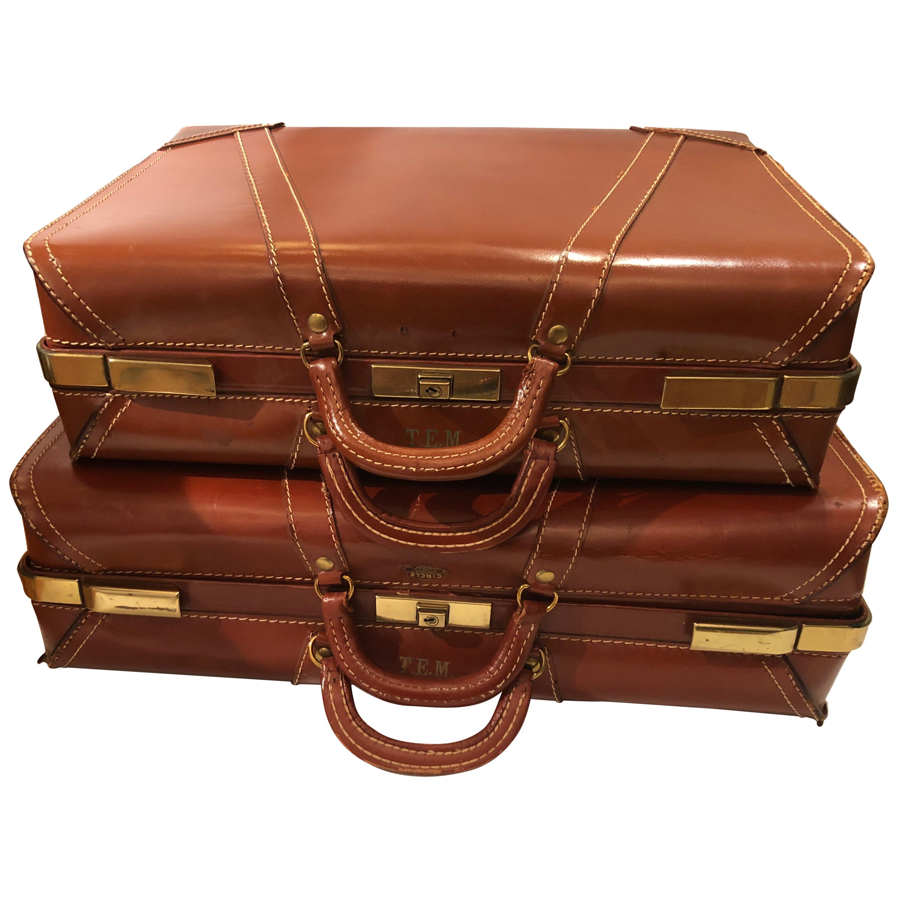 Rich Leather Pair of Vintage Suitcases Luggage