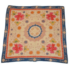 "Rich Multi Color ""Tribal Florals"" Cotton & Silk Crepe Scarf"