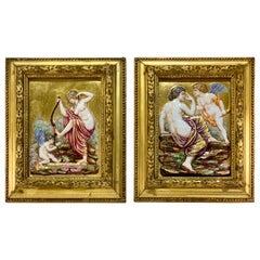 Pair of Antique Italian Capodimonte Rich 24K Gold High Relief Plaques