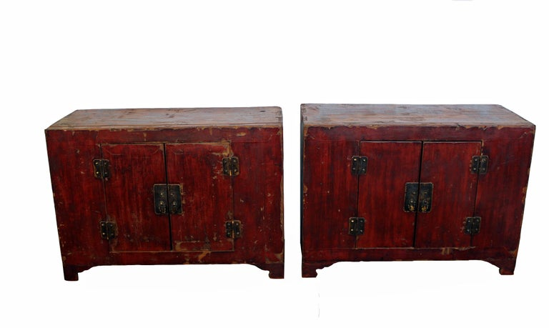 Chinese Export Rich Reddish Patina 19th Century Chinese Cabinet For Sale