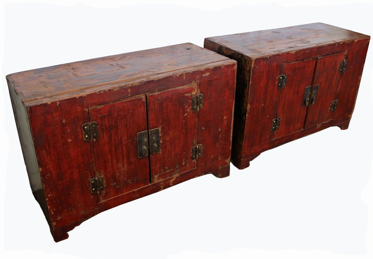 Hand-Painted Rich Reddish Patina 19th Century Chinese Cabinet For Sale