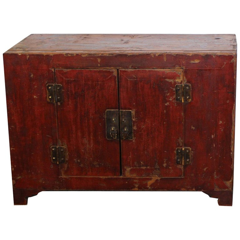 Rich Reddish Patina 19th Century Chinese Cabinet For Sale