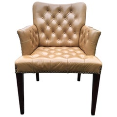 Rich Tufted Camel Colored Leather Armchair