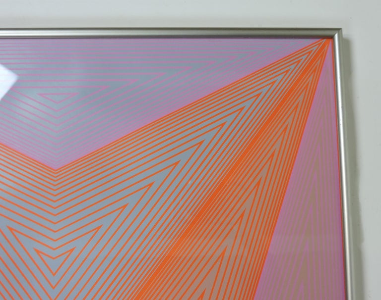 Beautiful Op Art serigraph by Richard Anuszkiewicz, one of ten from the Inward Eye portfolio with text from William Blake. The portfolio was published by Aquarius Press, France, and printed by Domberger, Stuttgart in Germany. This artwork is