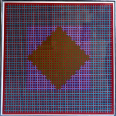 Hand Signed Op Art Kinetic Print Geometric Abstract Silkscreen Serigraph Pop Art