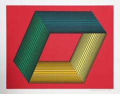 Red OP Art Silkscreen on Panel by Anuszkiewicz
