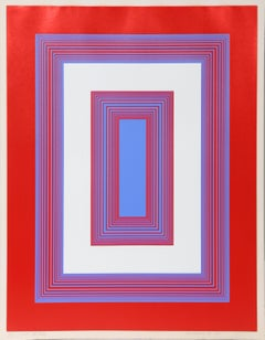 Red, White, and Blue, Abstract Serigraph by Richard Anuszkewicz