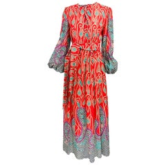 Richard Assatly Bohemian Cotton Mixed Print Maxi Dress 1970s
