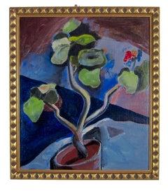 1930s Modernist still life oil painting by California artist Richard Ayer