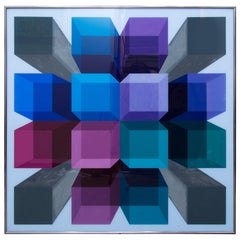 Richard Bailey 1970s Acrylic Painting in Blue, Gray Lavender Turquoise & Fuchsia