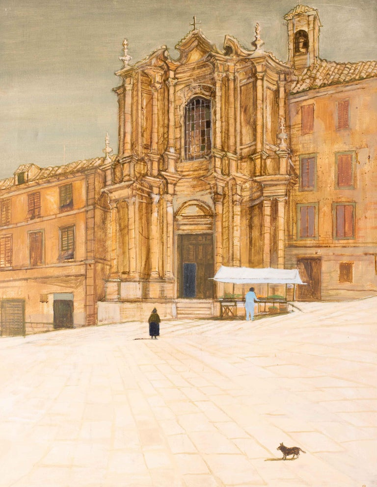 British 20th Century oil painting of a market stall at a Baroque church, Italy - Painting by Richard Beer