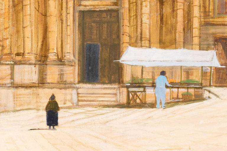 British 20th Century oil painting of a market stall at a Baroque church, Italy - Beige Figurative Painting by Richard Beer