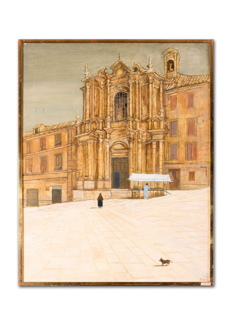 British 20th Century oil painting of a market stall at a Baroque church, Italy For Sale 3