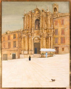 British 20th Century oil painting of a market stall at a Baroque church, Italy