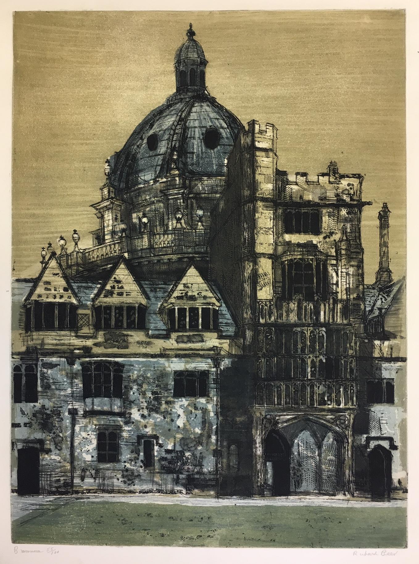 Richard Beer Brasenose College Oxford 1965 etching & aquatint print mid century