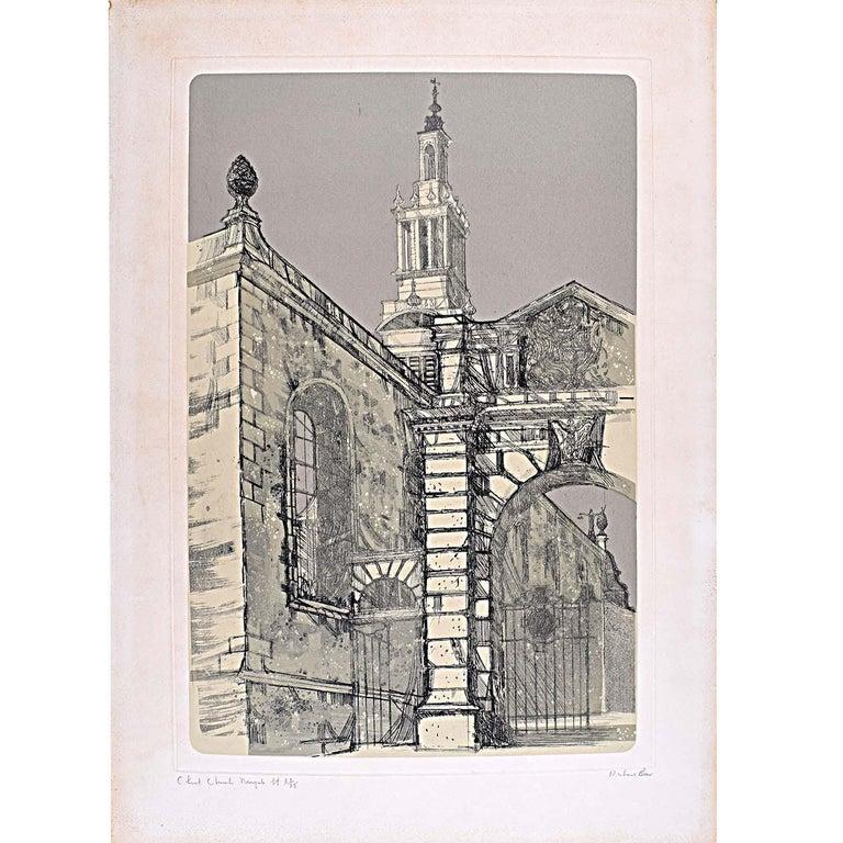 Richard Beer Christ Church Newgate St London Wren signed print 1970 etching - Modern Print by Richard Beer