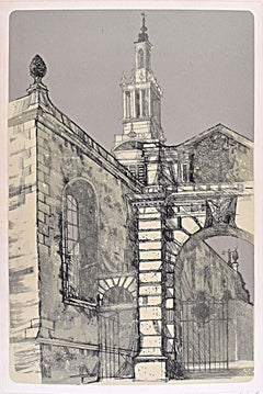 Richard Beer Christ Church Newgate St London Wren signed print 1970 etching