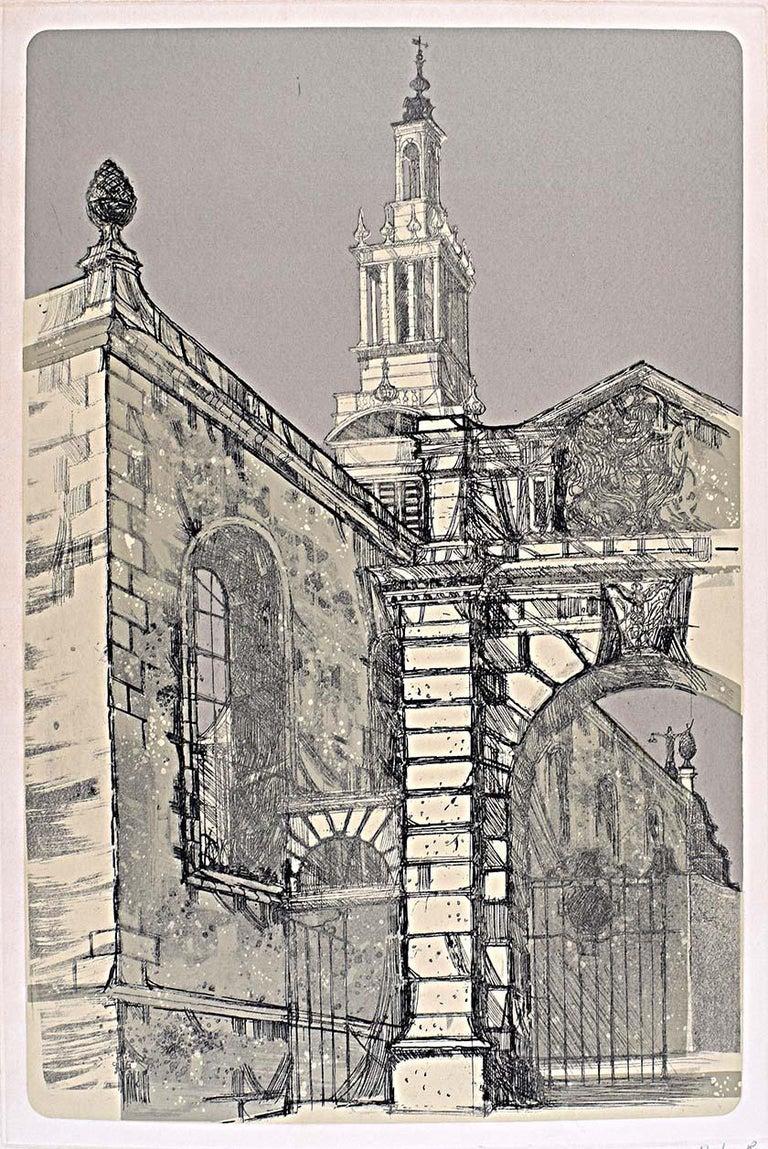 Richard Beer Christ Church Newgate St London Wren signed print 1970 etching - Print by Richard Beer