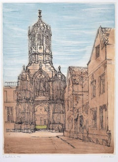 Richard Beer, Christchurch Oxford College signed print mid century 1965 etching