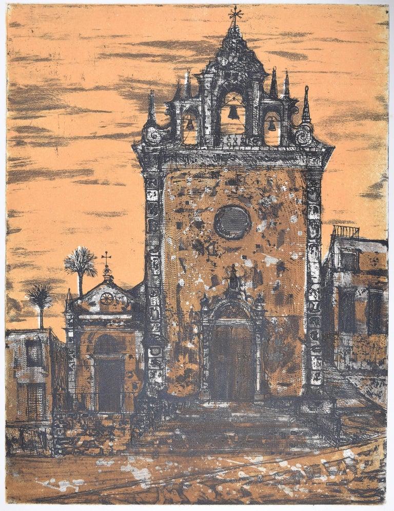 Richard Beer Piazza Armerina II etching and aquatint (pink version)  - Print by Richard Beer