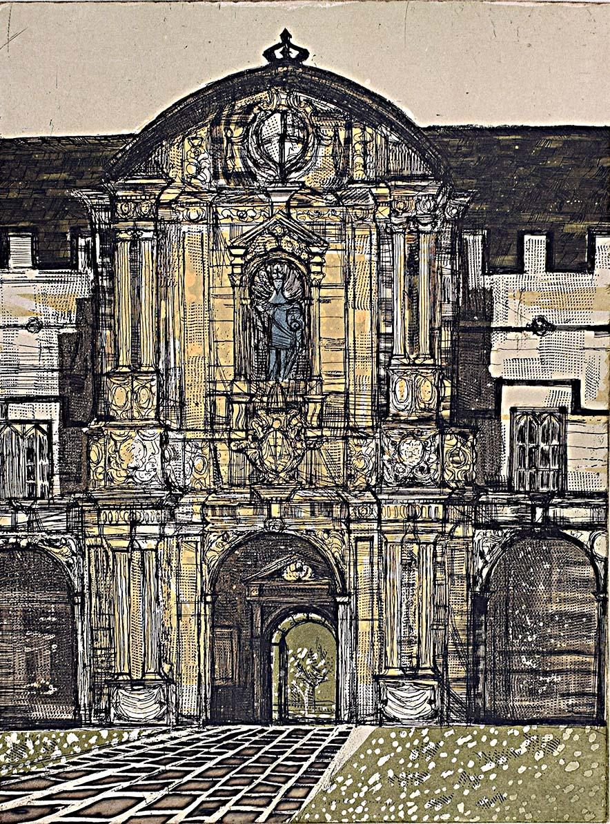 Richard Beer St John's College Oxford signed print mid century 1964-5 etching
