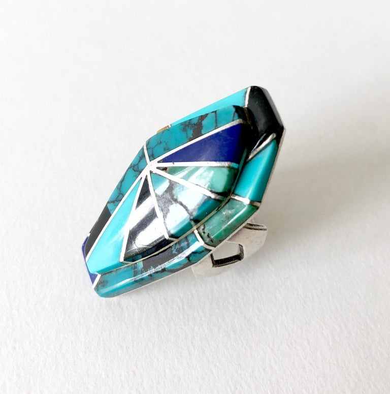 Artist Richard Begay Sterling Silver Turquoise Onyx Lapis Lazuli Navajo Ring For Sale