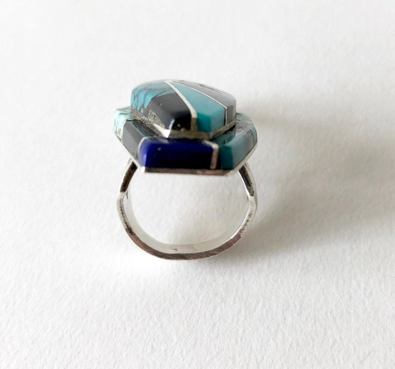 Women's or Men's Richard Begay Sterling Silver Turquoise Onyx Lapis Lazuli Navajo Ring For Sale