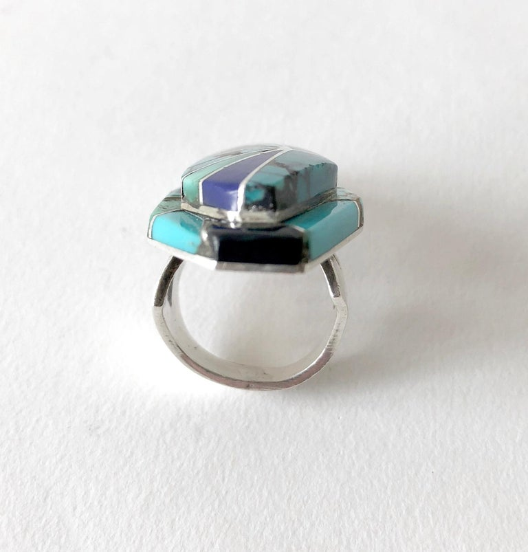 Richard Begay Sterling Silver Turquoise Onyx Lapis Lazuli Navajo Ring For Sale 1
