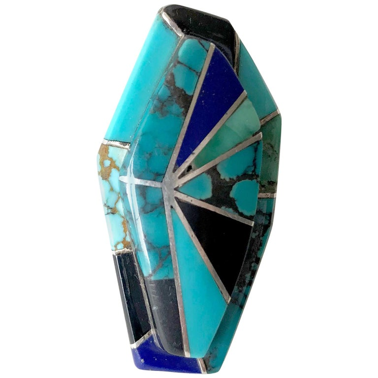 Richard Begay Sterling Silver Turquoise Onyx Lapis Lazuli Navajo Ring For Sale