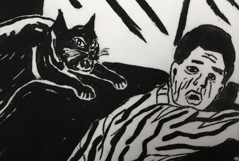Revenge of the Cat - Neo-Expressionist Print by Richard Bosman